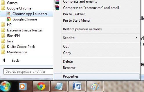 Chrome App Launcher properties
