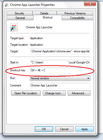 Chrome App Launcher shortcut key