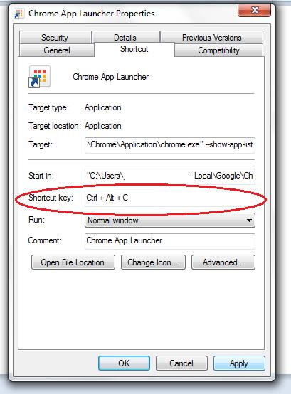 Chrome App Launcher shortcut key