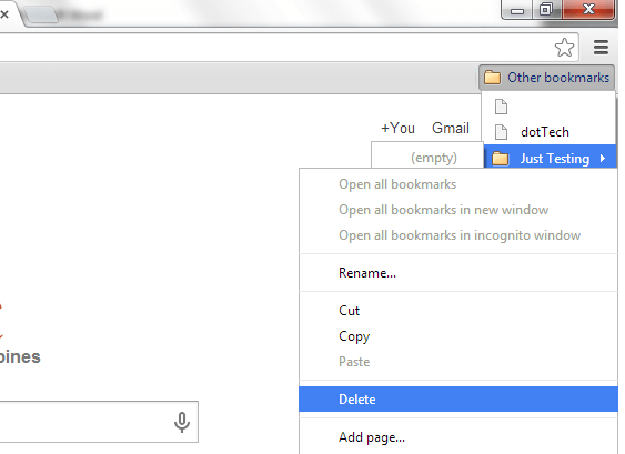 Delete Other Bookmarks Bar 2