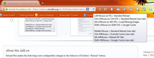 Firefox reload hotkeys