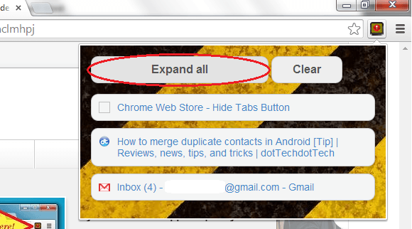 Hide Open Tabs in Chrome