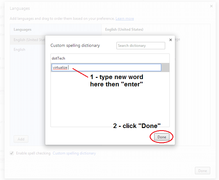 edit custom spelling dictionary Chrome b