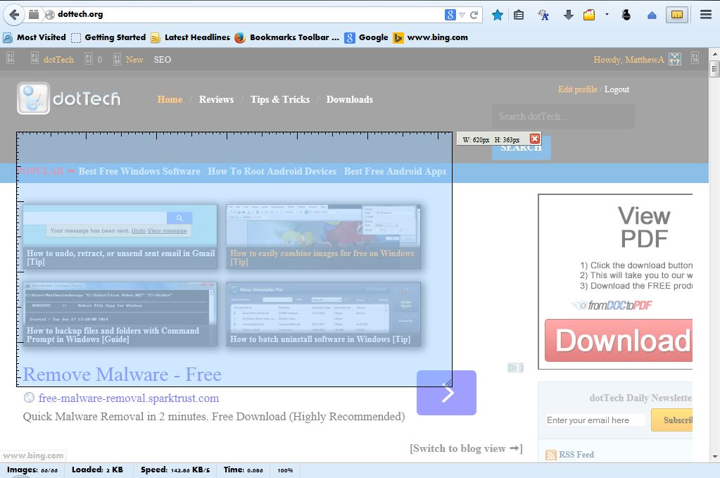 How to measure any area of a web page in Firefox [Tip