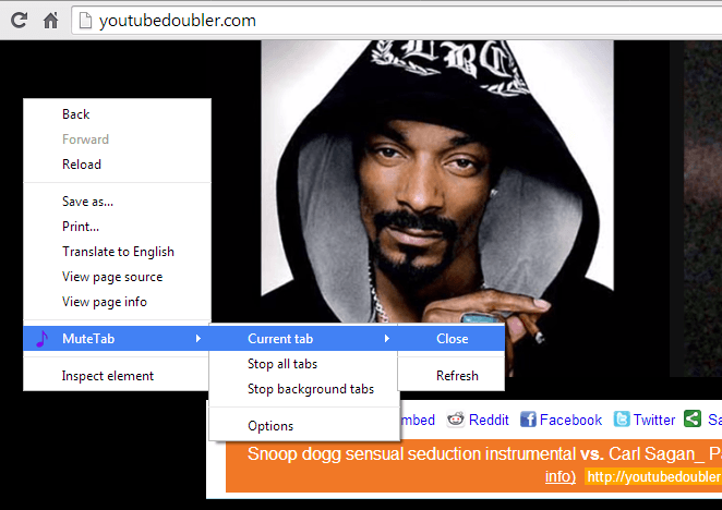 mute tabs via context menu