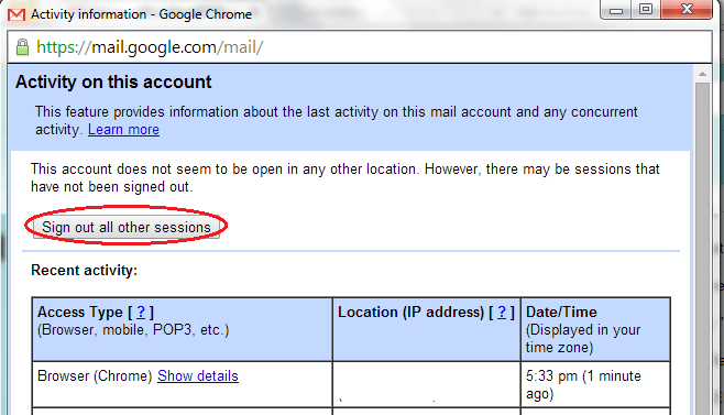 remotely log out from Gmail and Dropbox b