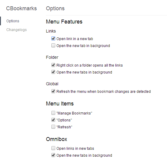 Context bookmarks options