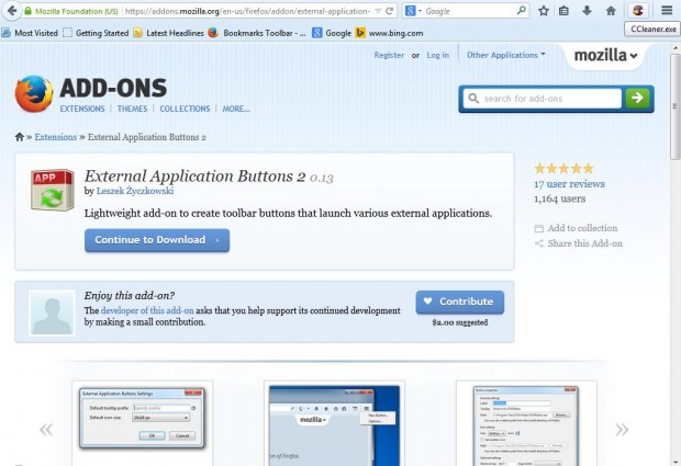 Externall Application buttons