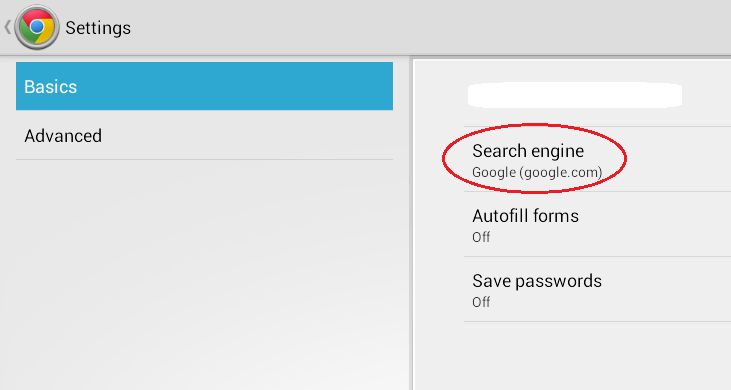 change default search engine chrome android b