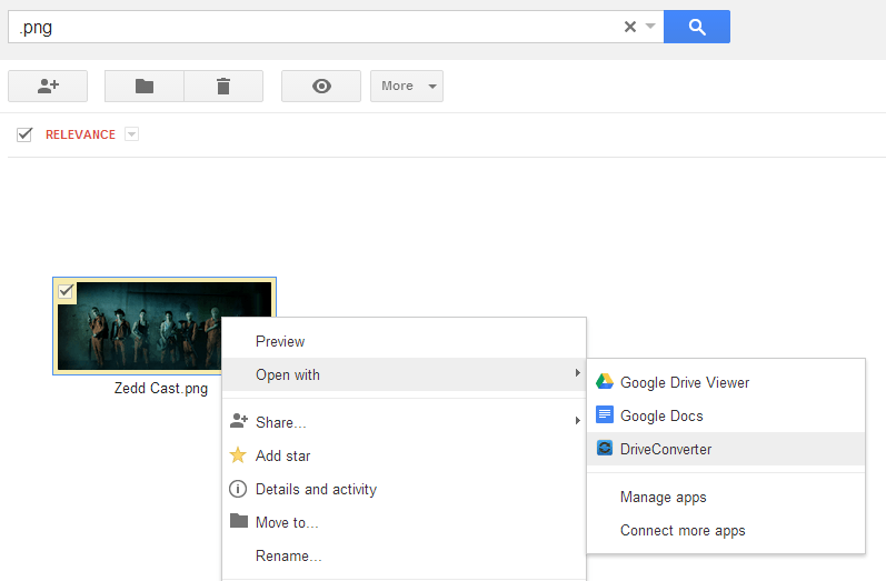 convert files from Google Drive