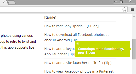 pagemark on chrome hover