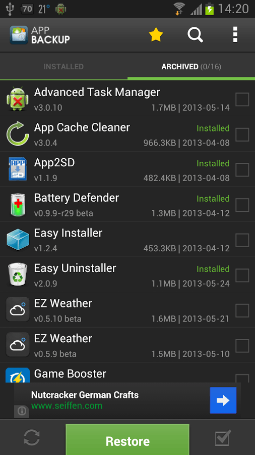 revert apps to older Android versions b