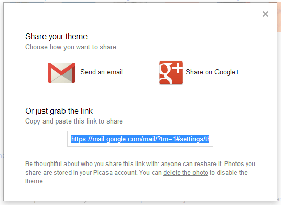 share a custom theme Gmail