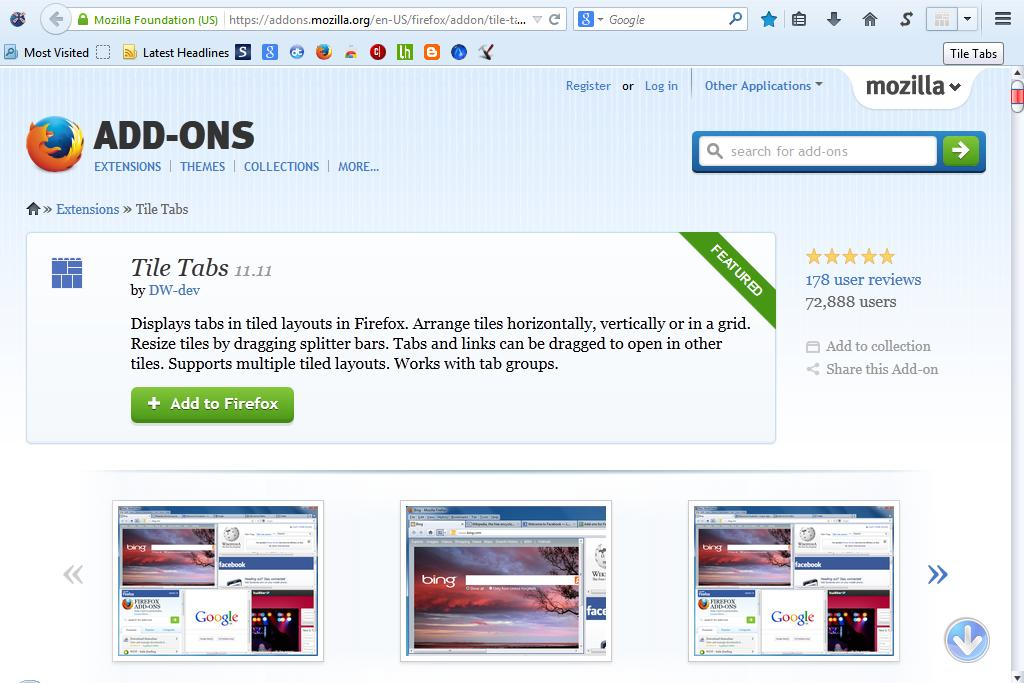 how to add website to firefox new tab page