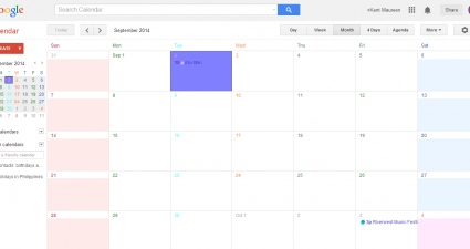 Colorful Calendar View in Google Calendar
