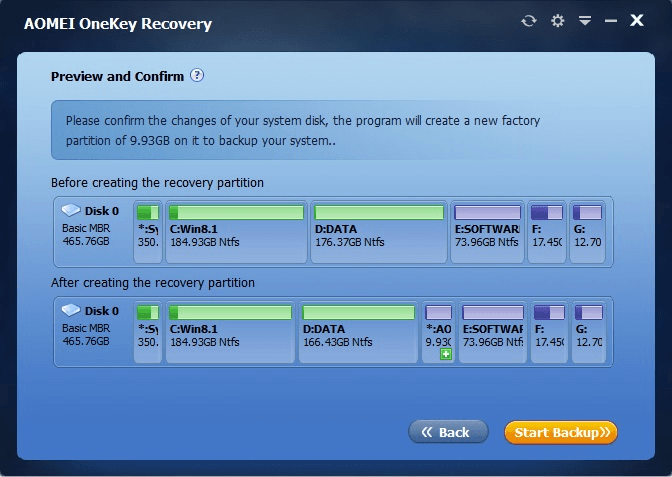 Create a factory recovery partition in Windows c