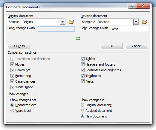 Compare documents in MS Word 2007