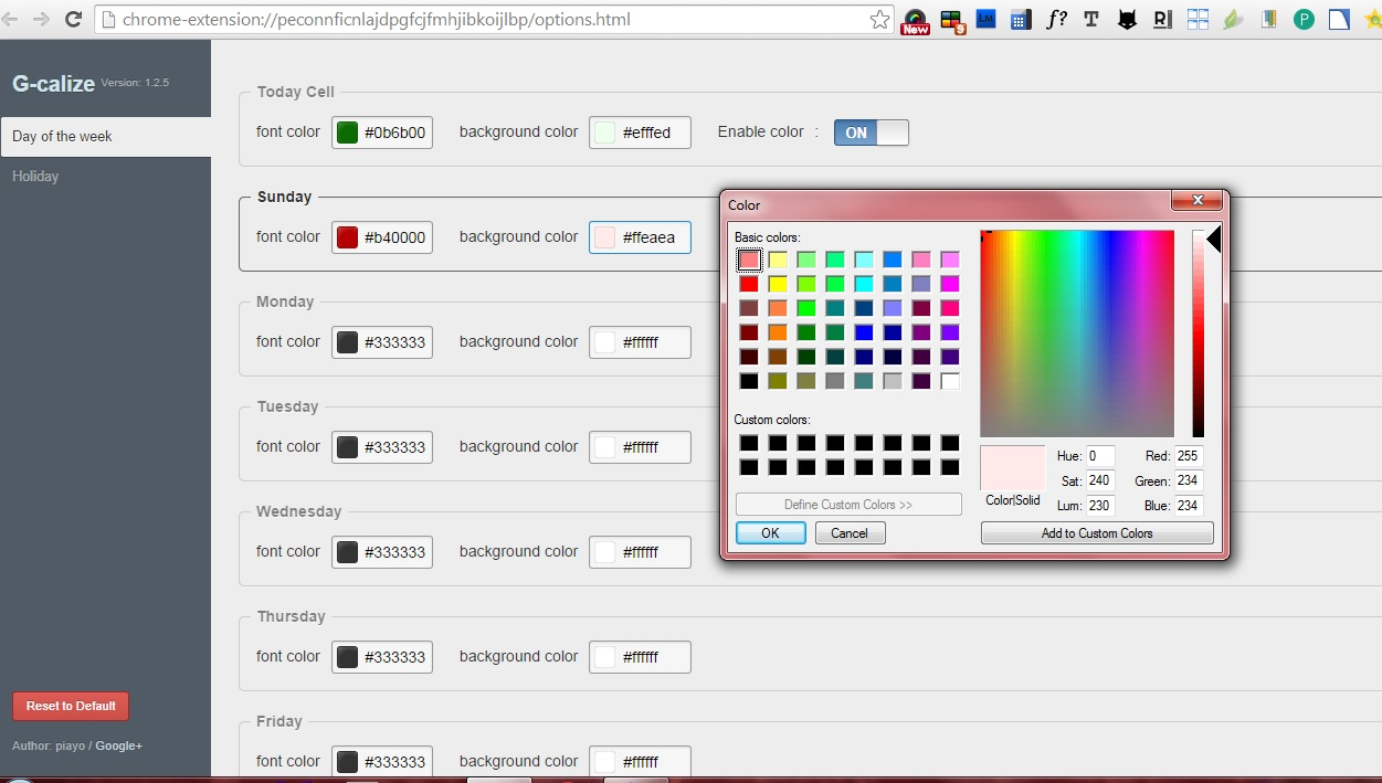 how to set custom google calendar text and background colors in