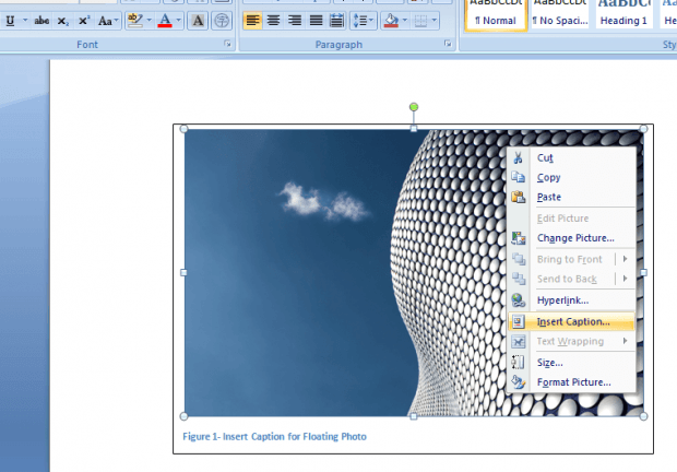 how to add image caption in word