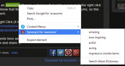 add synonym option to right-click menu Chrome