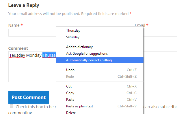 enable auto correct feature in Chrome b