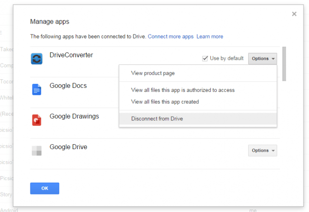 remove apps from Google Drive c