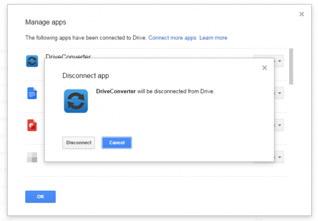 remove apps from Google Drive d