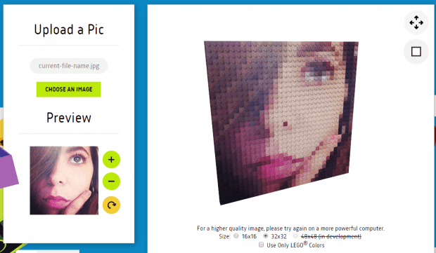 turn images to LEGO bricks mosaic