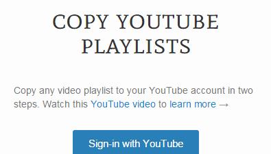 Copy YouTube Playlists