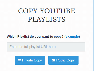 Copy YouTube Playlists b