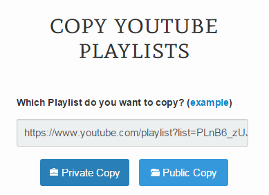 Copy YouTube Playlists c