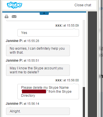 Delete skype account request