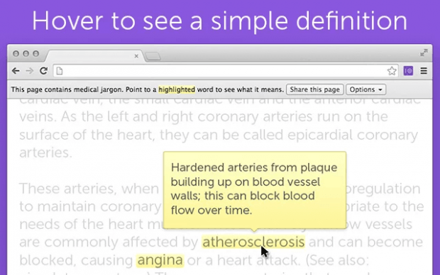 Medical jargons to simple words in Chrome