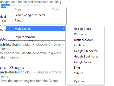 Multi search option in context menu Chrome b