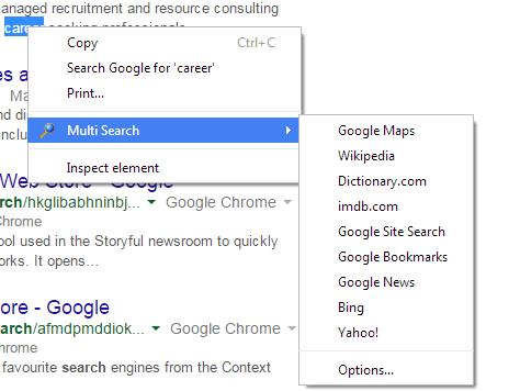 Multi search option in context menu Chrome b