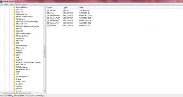 Notepad statusbar