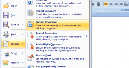 Password Protect document in MS Word 2007