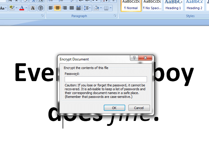 microsoft word protect document with password