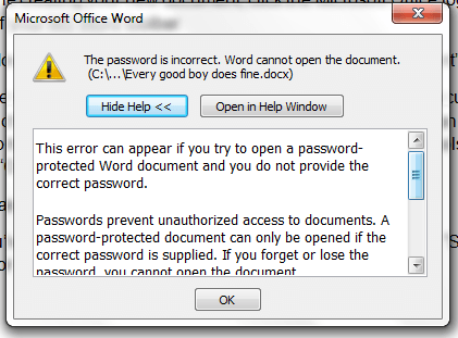 Password Protect document in MS Word 2007 c
