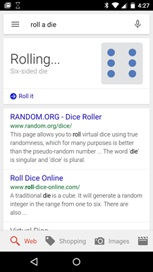 Roll a die Google Search Android