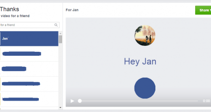 Send a Thank You video to a friend in Facebook