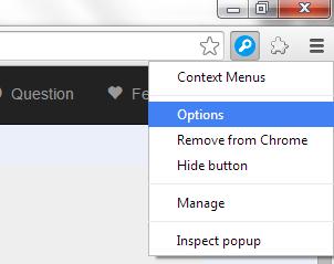 custom context menu Chrome