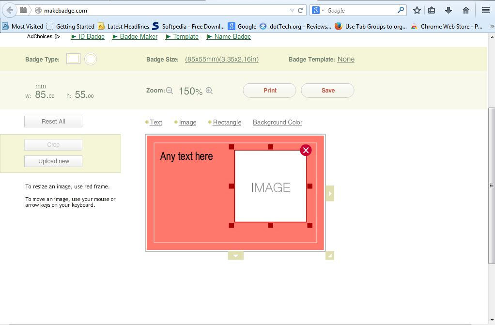 How to create and print a business card online tip dottech to resize the business card select the dimensions beside badge size that will open a drop down list with various card sizes on it as below reheart Gallery
