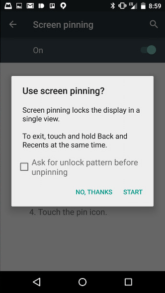 pin screens in Android Lollipop c