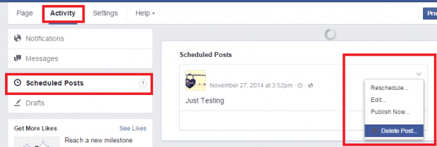 schedule posts on a Facebook Page d