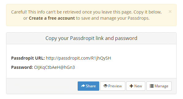 set a password to a Dropbox link d
