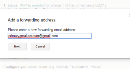 Forward emails from one Gmail account to another c