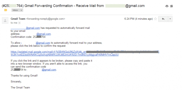 Forward emails from one Gmail account to another d