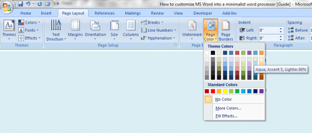 Minimalist MS Word 2007 c