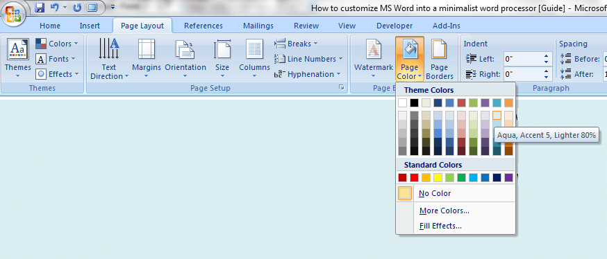 Color Page In Word 2007
